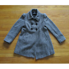 Guess Double Breasted Wool Blend Herringbone Button Black White Pea Coat Large