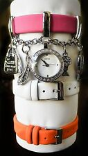 New GUESS Women's Charm Bracelet watch w/ Interchangeable Bands W12610L1 w/box