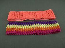 Orange Multi 2 pack crochet headband soft Stretch kids girls childrens no metal