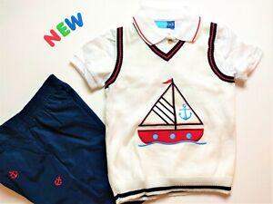 Toddler Kids Boys Clothes Size 4  NWT Good Lad Blue Sailor Sweater Shorts Set