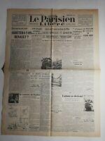 N510 La Une Du Journal Le Parisien 22  septembre 1944 arrêtera ton Renault