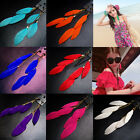 1 Pair Fashion Tassel Feather Drop Dangle Hook Long Earrings Women Ear Accessory