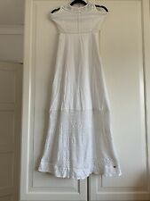 Superdry Crochet  White Lined flowing Maxi Long Dress Size XSmall