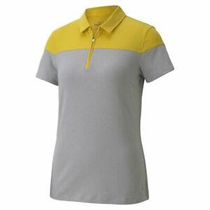 PUMA Golf Women's Colorblock Polo Shirt Size Small NEW Light Grey Heather