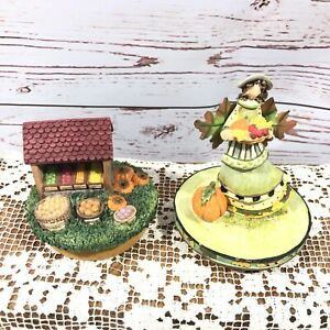 Our America Jar Candle Topper Fall Harvest Pumpkins Angel Lot of 2