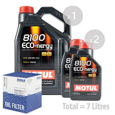 Engine Oil and Filter Service Kit 7 LITRES Motul 8100 Eco-nergy 5W-30 7L