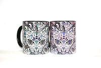 Sugar skull Cats mug Gothic Halloween gift Handmade design cup coffee tea multi