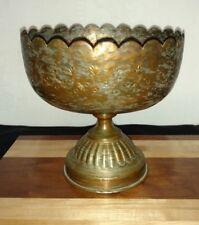Vintage Copper/Brass Decorative Footed Bowl, Table Centerpiece, Kitchen