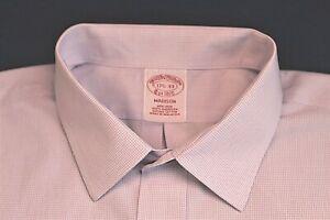 BROOKS BROTHERS lt purple white tiny square plaid MADISON NO IRON shirt 17.5-33