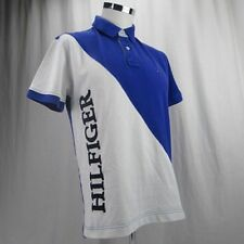 Tommy Hilfiger Spell Out Polo Shirt Men's Short Sleeve Blue White Pink S Large