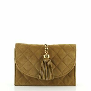Chanel Vintage Tassel Round Flap Clutch Quilted Suede Small