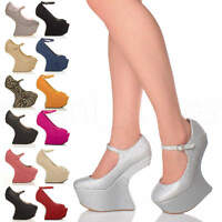 WOMENS LADIES HIGH HEELLESS PLATFORM CLUB MARY JANE STRAP PONY COURT SHOES SIZE