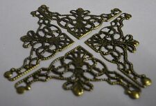 30 x Antique filigree corner 35x35mm Jewelery wooden box embellishment aged C037