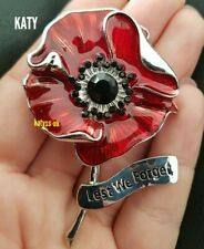 Large Red Poppy Flower Broach Diamante Brooch Vintage Silver Crystal Pin Gift UK