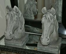 Pair Of Large Horse Head Statue Standing Stallion Equestrian