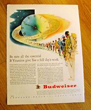 1943 Budweiser Beer Ad WW II Theme Essential B Vitamins Give Full Day's Work
