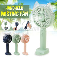 Fan Mini Portable Desktop Handheld Spra Misting Fan 3 Speeds USB Charging