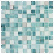 MTO0282   Contemporary Uniform Squares Blue Grey White Glass Metal Mosaic Tile