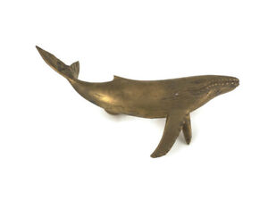 """used HUMPBACK whale solid brass door old style heavy house PULL handle 12"""""""