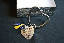 """Down Syndrome Keychain 'You Are Always In My Heart"""" Silver Heart IN GIFT BOX"""