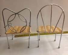 "Set  Doll House Chairs 5.5"" X 3"" Natural Wicker and Silver Metal Excellent Cond!"