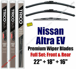 Wiper Blades 3pk Front Rear fit 1998-2001 Nissan Altra EV 19220/180/30160