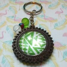 Wooden Pendant Keyring Glass Cabochon Brightly Coloured Pattern & Beads Gift