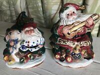 Fitz & Floyd Omnibus Christmas Santa Salt Pepper Shakers 1996 Vtg Bunny