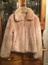 Reversible Faux Fur Champagne Jacket Small
