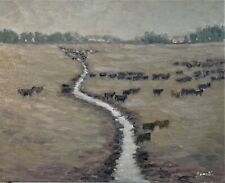 Sean Wu original oil painting 14x18 on canvas board, cows