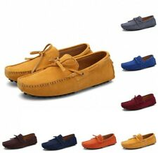 Mens Suede Leather Lace Up Bowknot Slip On Loafers Driving Moccasins Shoes Pumps