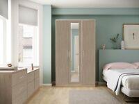 Ready Assembled Melrose Light Oak Wardrobe Drawer Complete Bedroom Furniture Set