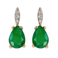 10k Yellow Gold Genuine Pear-Shape Emerald and Diamond Drop Earrings