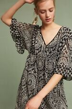 NWT Anthropologie Akemi + Kin Brooke Embroidered Eyelet Swing Dress Size 2 Black