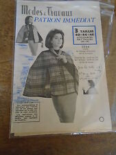 PATRON VINTAGE  MODES ET TRAVAUX CAPE COURTE ANNEE  1960 T 40/44/48