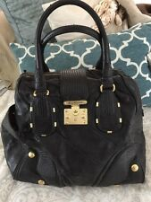 Juicy Couture Pad Lock Satchel Tote Black Gold Leather