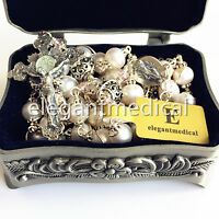 Bali 925 Sterling Silver Bead +AAA Real Pearl Catholic Rosary NECKLACE Cross Box
