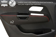 RED STITCH 2X FRONT DOOR ARMREST LEATHER COVERS FITS VW AMAROK 2010-2017