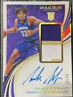 2020 PANINI IMMACULATE COLLEGIATE ISAIAH STEWART AUTO PATCH #'d 10/25 RPA