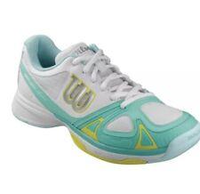 Wilson Rush Evo DF2 Tennis Trainers Size 6 White-Turqoise Brand New
