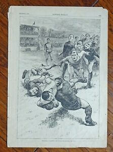 """HARPER'S WEEKLY DECEMBER 1,1883 PAGE 773+ FOOT-BALL """"COLLARED"""" WOODPRINT"""
