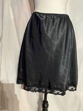 Vintage 1990's Victoria's Secret Satin Half Slip Lace Trim Black Medium