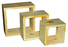 Pre-sanded Wooden Wall Cubes - Shelves Set Of 3