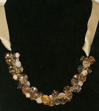 """Faceted Crystals Beads - Ribbon Necklace 21"""" Estate Ali Khan New York Multicolor"""