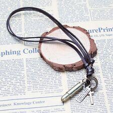 Stile Militare Proiettile con Cross & Messaggio su Corda Regolabile in Pelle Marrone