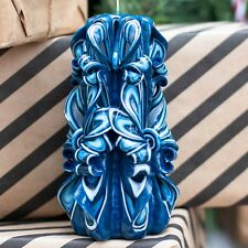 Dark blue  carved candle - paraffin candle - Christmas or Hanukkah candle