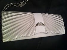 Pleated Satin White Ladies Crystal Prom Bridal Evening Clutch Hand Bag Purse New