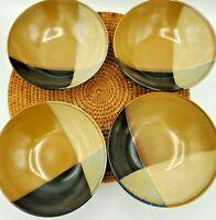 Set of 4 Sango Gold Dust Black Soup Cereal Bowls 5022