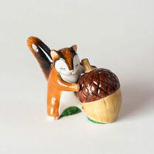 Chipmunk & Acorn Salt & Pepper Set Ceramic Woodland Forrest Fun New In Box