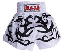 Short boxe Muay Thai RAJA boxing satin taille XXL blanc Boxe Thaïlandaise